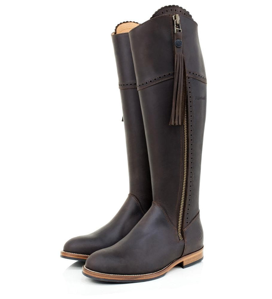 Sovereign Waxed Leather Boots with Tassel - Brown - Bareback Footwear