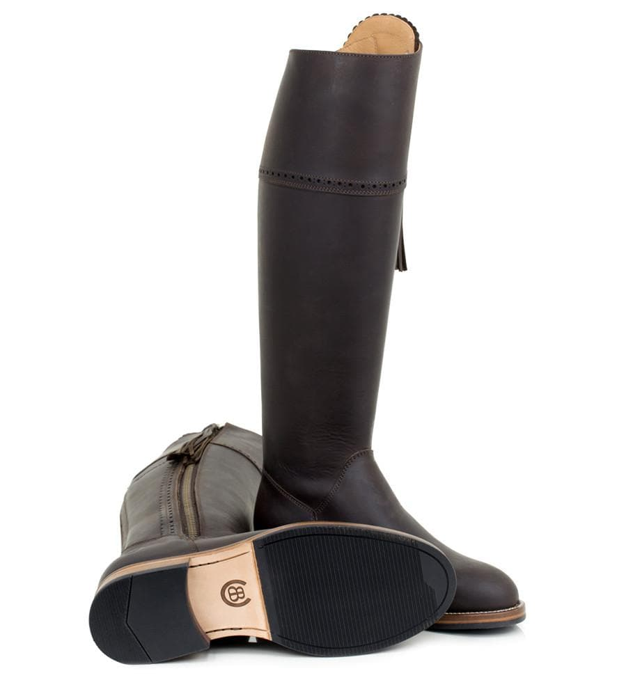 Sovereign Waxed Leather Boots with Tassel - Brown - Made to Measure - Bareback Footwear
