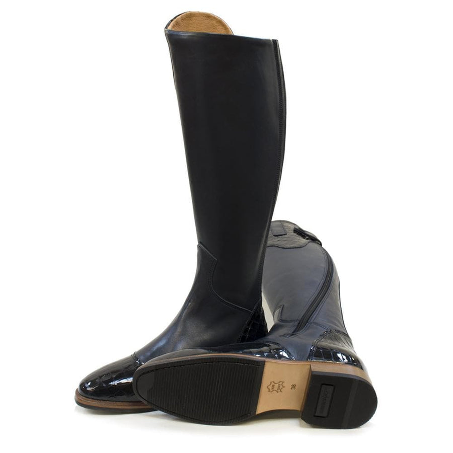 Milan Long Riding Boots - Blue - Made to Measure - Bareback Footwear