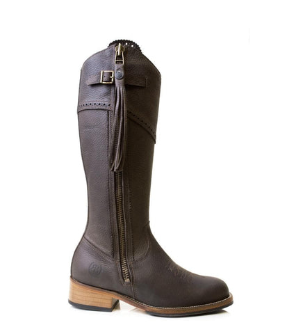 Nebraska waterproof wool lined long riding boot  - Brown - Made to Measure