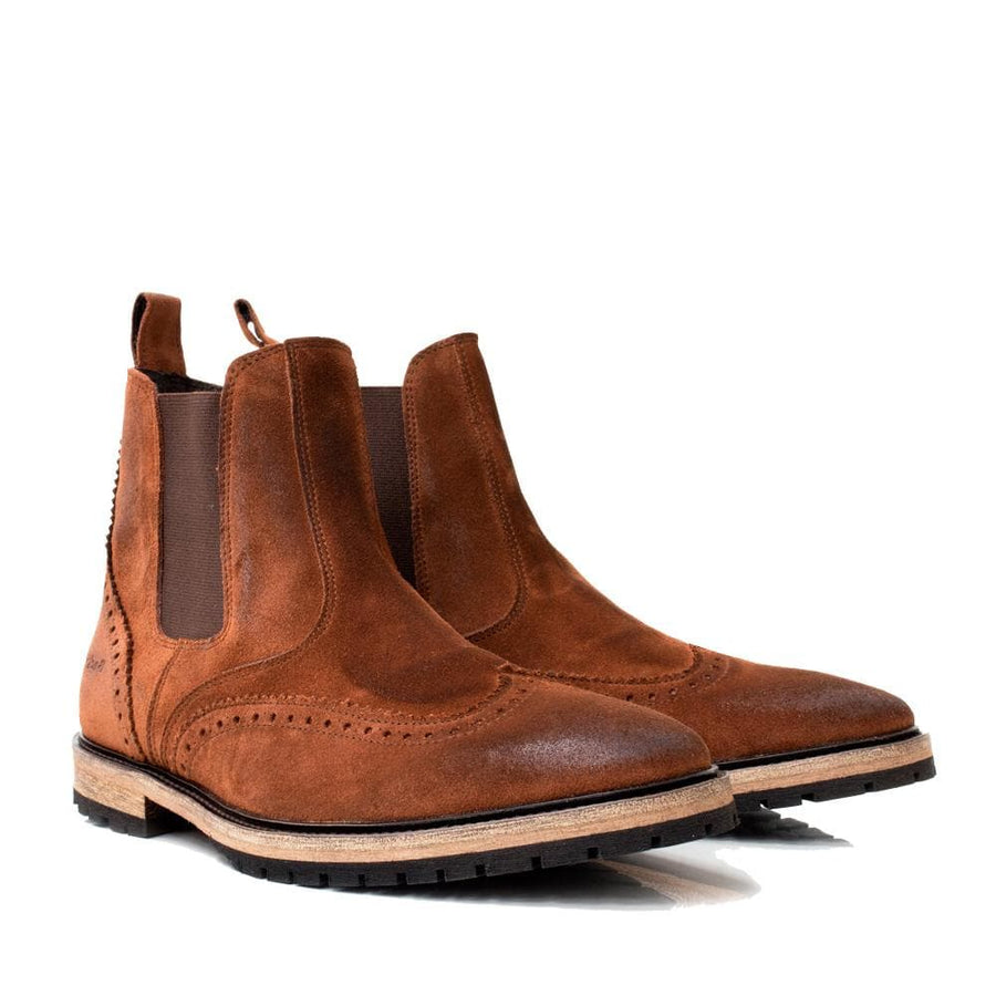 Texas Brogue Boot  - Brown - Bareback Footwear
