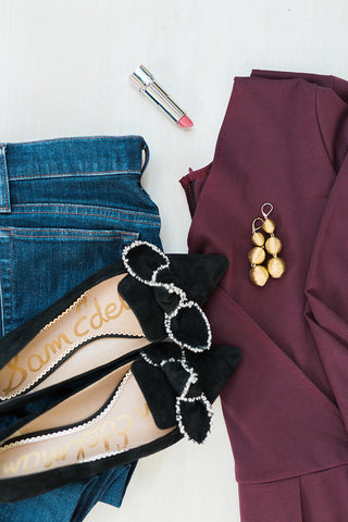 casual valentine's day outfit - faux wrap top - burgandy faux wrap top - faux wrap top for tall women