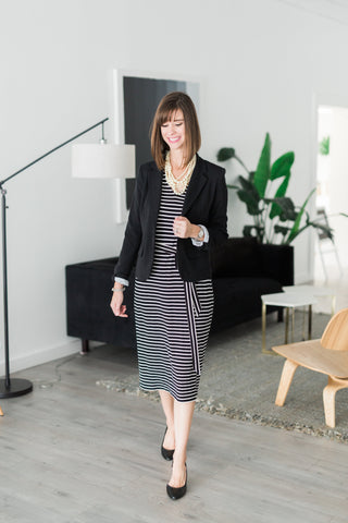 striped shift dress - black and white striped dress - made in dc
