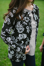 open floral fleece jacket in black and white