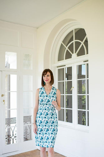 Sheath Dress in Blue Floral