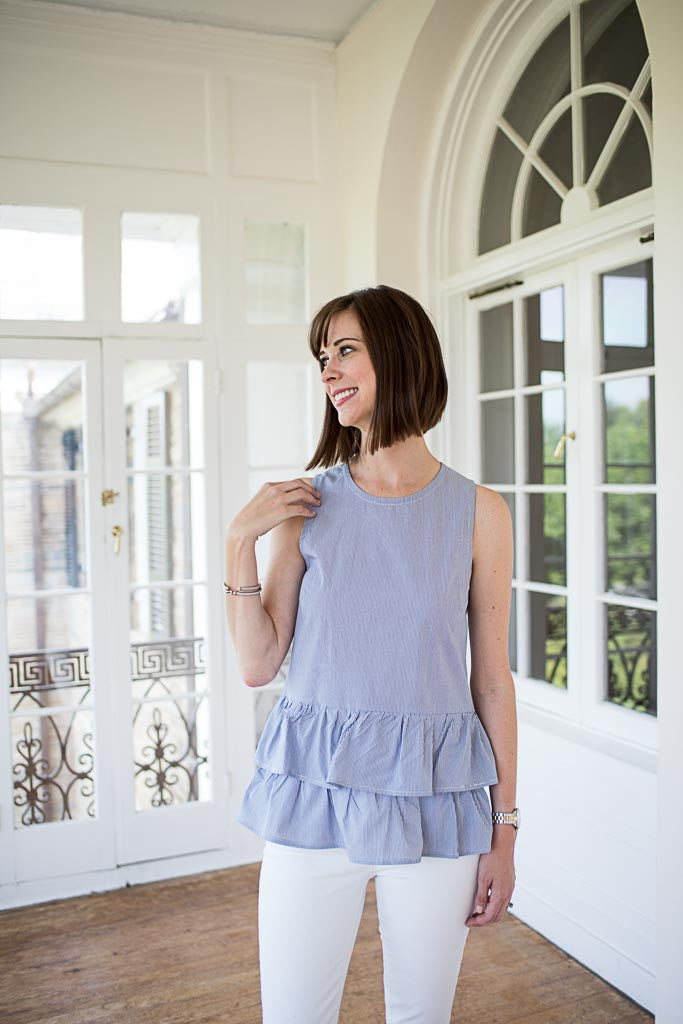 double peplum top in blue and white stripe styled with white denim