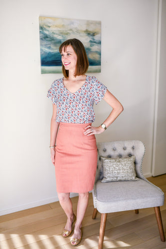 coral denim skirt paired with floral top