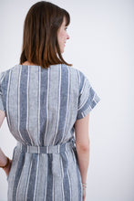 Striped Tie Waist Linen Dress