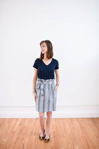 Paper Bag Waist Skirt in Blue & White