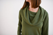 close up of cowl neck detail in moss