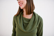 photo of cowl neck top in moss for purposes of demonstrating that the peplum sweatshirt is also available in moss