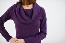 close up of cowl neck detail in plum
