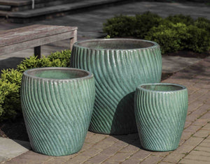 Campania International Vortex Planter Set of 3 in Celadon Pearl The Garden Gates