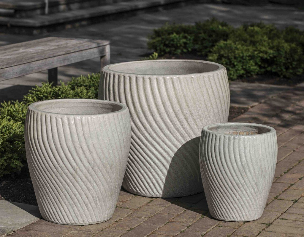 Campania International Vortex Planter Set of 3 in Antique Pearl At Home with Beth and Chad