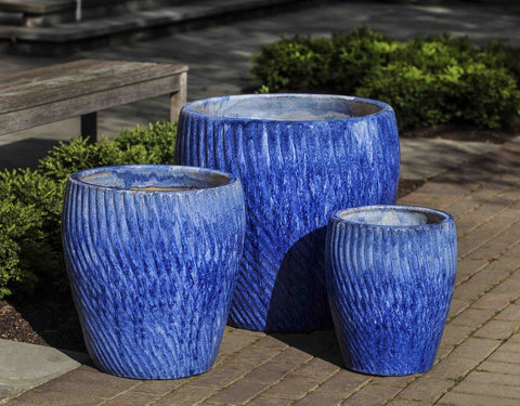Campania International Vortex Planter Set of 3 in Waikiki The Garden Gates
