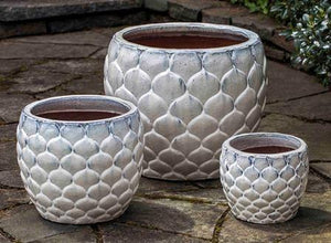 Campania International Pina Planter Set of 3 in Milk Glaze The Garden Gates