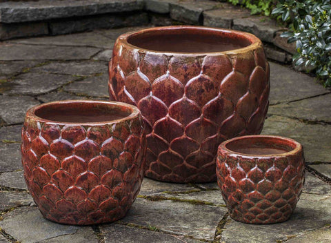 Campania International Pina Planter Set of 3 in Sunset Red Glaze The Garden Gates