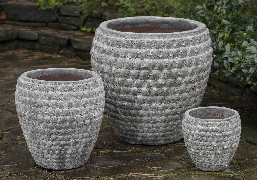 Campania International Coquilles Planter Set of Three in Angkor Grey - AtHomewithBethandChad.com