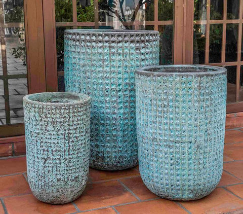 Campania International Verdigris Escada Tall Planter - Set of 3