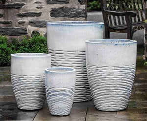 Campania International Tall Hyphen Planter Set of 4 in Milk Glaze At Home with Beth and Chad