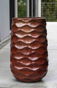 Campania International Tall Rumba Planter in Sunset Red At Home with Beth and Chad