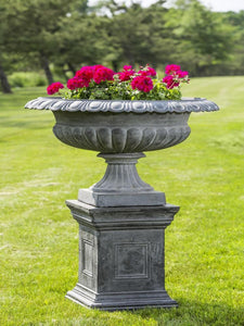Campania International Stafford Iron Urn on Daventry Iron Pedestal The Garden Gates