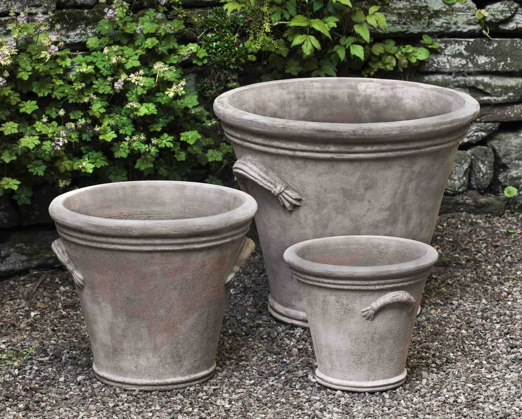 Campania International Fluted Handle Planter Set of 3 in Antico Terra Cotta At Home with Beth and Chad