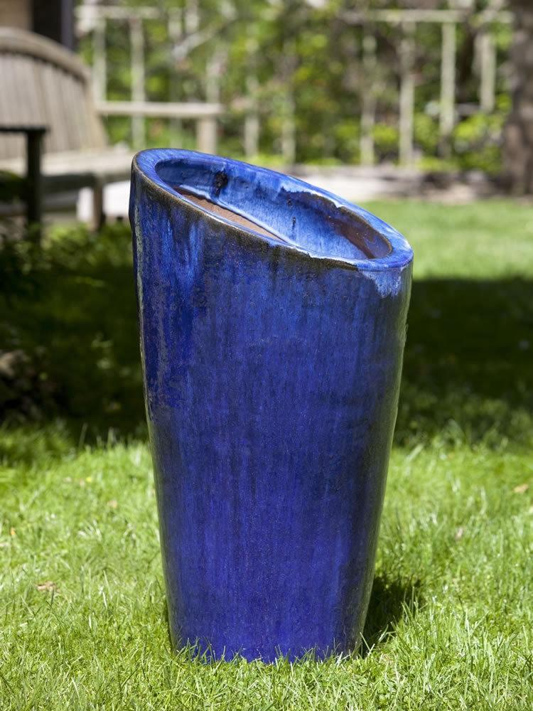 Campania International Rutillo Planter in Rivera Blue At Home with Beth and Chad