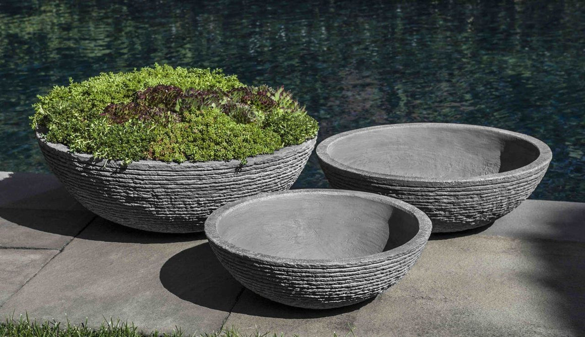 Campania International Stone Ledge Zen Bowl - Set of 3 The Garden Gates