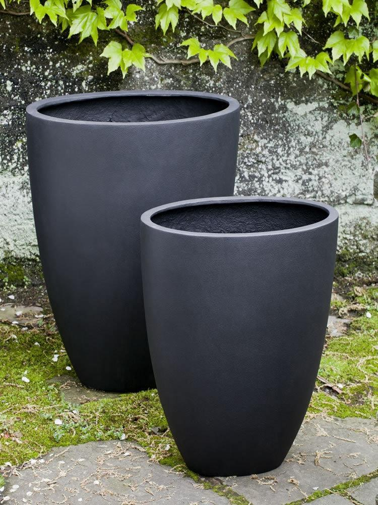 Campania International Tall Oval Lite Planter Set of 2 in Onyx Black At Home with Beth and Chad