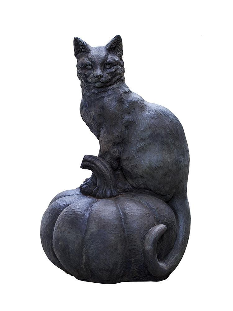 Campania International Cat on a Pumpkin Garden Statue The Garden Gates