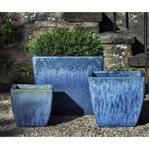 Campania International Lorimar Planter Set of 3 in Blue Pearl
