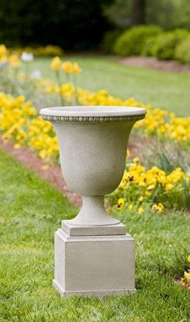 Campania International Williamsburg Egg and Dart Urn and Pedestal At Home with Beth and Chad