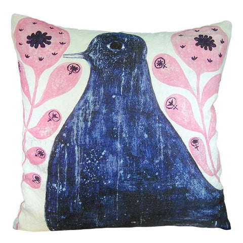 Image of Sugarboo Designs Black Bird In Flowers Pillow