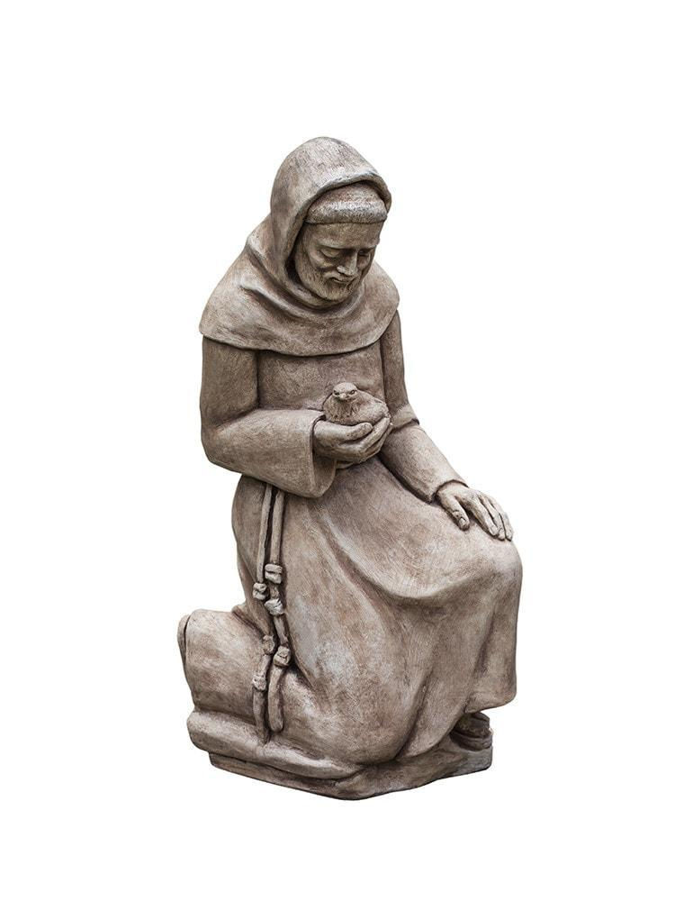 Campania International Kneeling St. Francis with Bird Garden Statue The Garden Gates