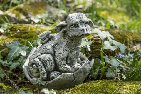 Image of Campania International Whimper Dragon Garden Statue At Home with Beth and Chad