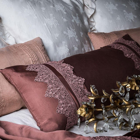 Image of Bella Notte Linens Satin with Venise Lace Lumbar Pillow - AtHomewithBethandChad.com