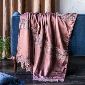 Bella Notte Linens Satin with Venise Lace Wedding Blanket - AtHomewithBethandChad.com