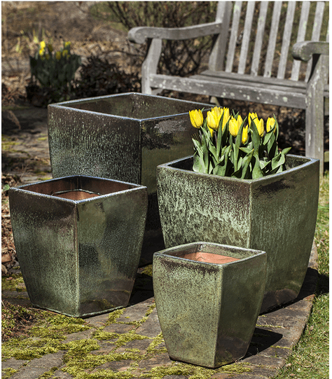 Campania International Blake Planter Set of 4  in Green Metallic - AtHomewithBethandChad.com