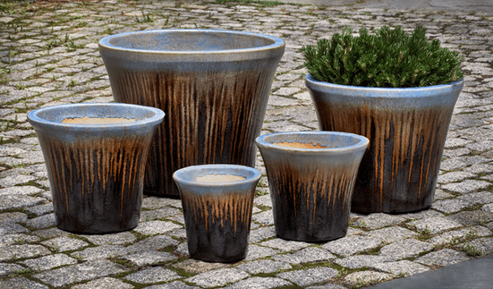 Campania International Delphine Planter Set of 5 in Timber Blue - AtHomewithBethandChad.com