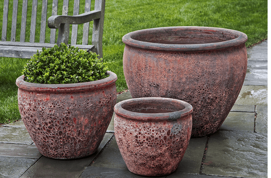 Campania International Corfu Planter Set of 3 in Angkor Red - AtHomewithBethandChad.com
