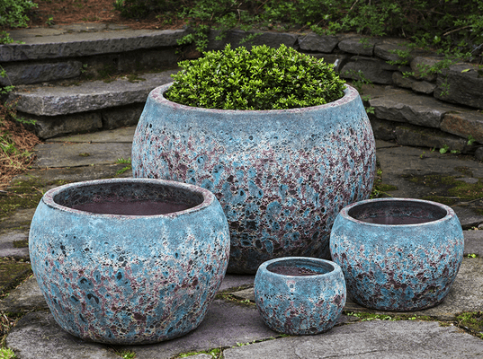 Campania International Naxos Planter Set of 4 in Angkor Teal - AtHomewithBethandChad.com