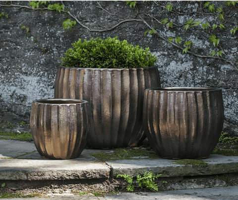 Image of Campania International Estrella Planter Set of 3 in Bronze DorÌÎå© At Home with Beth and Chad