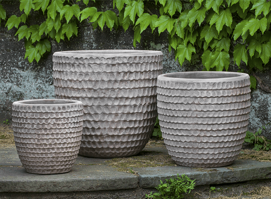 Campania International Dimple Glaze Planter Set of 3 in Antico Terra Cotta At Home with Beth and Chad