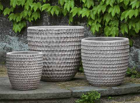 Image of Campania International Dimple Glaze Planter Set of 3 in Antico Terra Cotta At Home with Beth and Chad