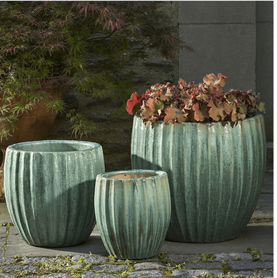 Campania International Estrella Planter Set of 3 in Celadon Pearl At Home with Beth and Chad