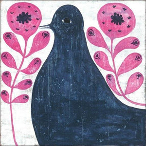 Sugarboo Designs Black Bird In Flowers Art Print The Garden Gates