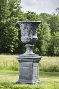 Campania International Kingswood Iron Urn on Hillsworth Iron Pedestal The Garden Gates