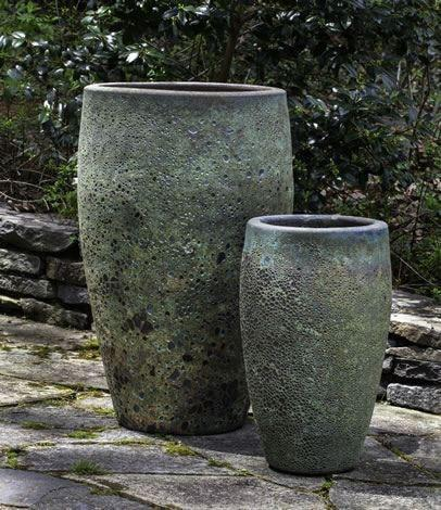 Campania International Ta Som Planter Set of Two in Angkor Green Mist At Home with Beth and Chad