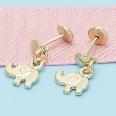 Gold Layered Girls Elephant Stud Earring, by Folks Jewelry